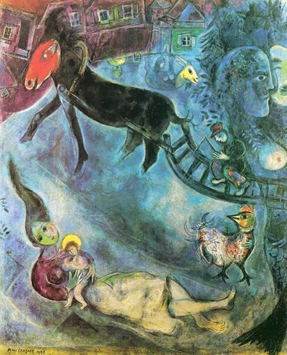 Марк Шагал :: Мадонна и сани (1947 год)