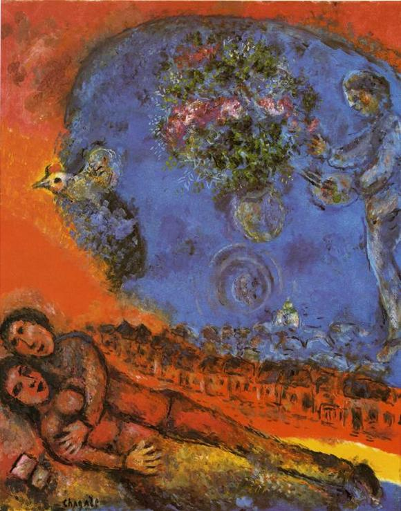 Марк Шагал :: Пара на красном фоне (1983 год)