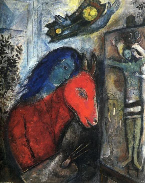 Марк Шагал :: Автопортрет с часами. Перед распятием (1947 год)